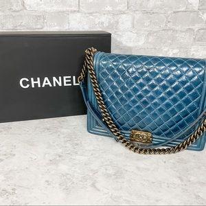 Chanel Le Boy Large Blue Aged Calfskin Leather Bag